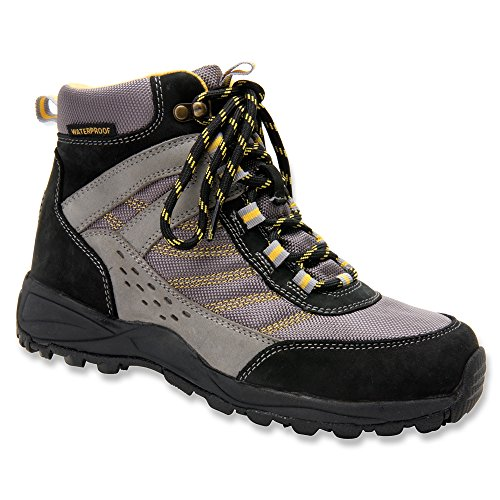 Drew Glacier - Womens Waterproof Orthopedic Boot Blk/Gry Cmb