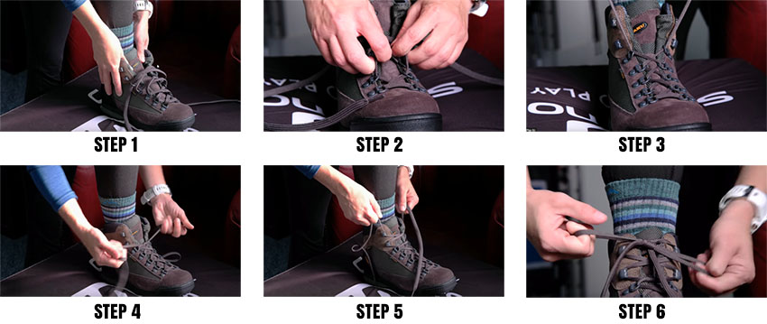 The correct lacing of hiking boots