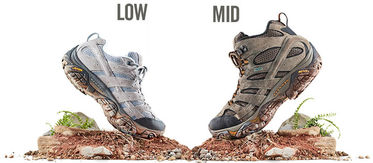 low-cut and mid-cut hiking boots